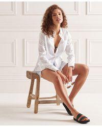 Superdry Chemise à manches longues Modern Tailor - Blanc
