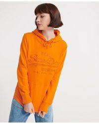 Superdry Vintage Logo Tonal Embroidered Loopback Hoodie - Orange