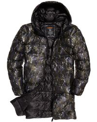 Superdry Echo Quilt Longline Puffer Coat - Green