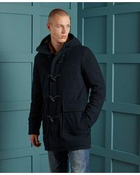 Superdry Foundation Wool Duffle Coat - Blue