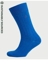 Superdry Organic Cotton Casual Rib Socks - Blue