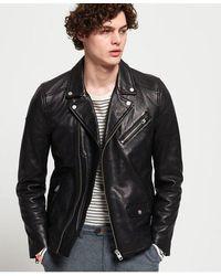 Superdry Hero Leather Biker Jacket - Black