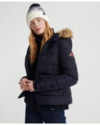 Superdry Premium Down Short Faux Fur Jacket - Blue