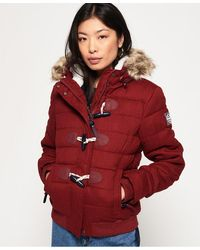Superdry Marl Toggle Puffle Jacket - Red