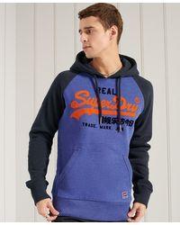 Superdry Sweat à capuche à manches raglan Vintage Logo - Bleu