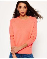 Superdry Downtown Raglan Knitted Jumper - Orange
