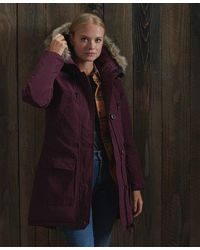 Superdry Rookie Down Parka Coat - Purple