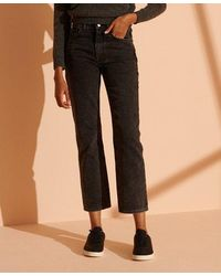 Superdry High Rise Straight Jeans - Black