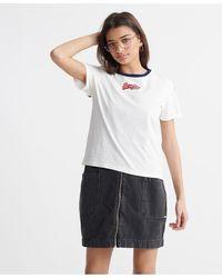 Superdry Camiseta de corte cuadrado con logo Vintage Micro - Blanco