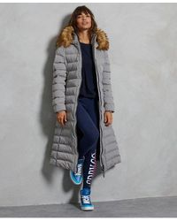 Superdry Arctic Long Puffer Coat - Gray