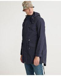 Superdry Long Sleeved Essential Parka Coat - Blue