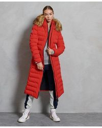 Superdry Arctic Long Puffer Coat - Red