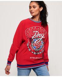 Superdry Vee Varsity Oversized Crew Sweater - Red