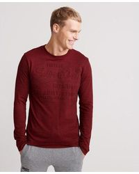 Superdry Shirt Shop Embossed Long Sleeve T-shirt - Red
