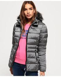 Superdry Taiko Padded Faux Fur Jacket - Metallic