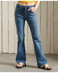 Superdry Slim Flare Jeans Met Middelhoge Taille - Blauw