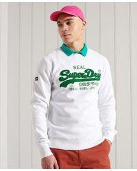Superdry Vintage Logo Chenille Crew Sweatshirt - White