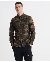 Superdry Core Military Patched Long Sleeved Shirt - Green