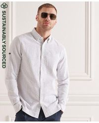 Superdry Camisa de manga larga en algodón orgánico Seersucker - Gris