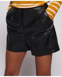 Superdry Lilya Pleat Leather Like Shorts - Black