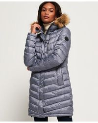 Superdry Chevron Faux Fur Super Fuji Jacket - Grey