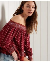 Superdry Ameera Off The Shoulder Top - Red