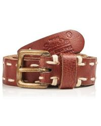 Superdry Skinny Saddle Stitch Belt In A Box - Brown