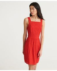 Superdry Blaire Broderie Dress - Red