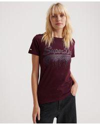 Superdry Camiseta con logo Vintage metalizado Cascade - Morado