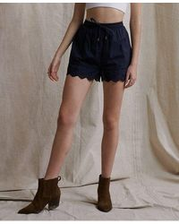Superdry Lace Broderie Shorts - Blue