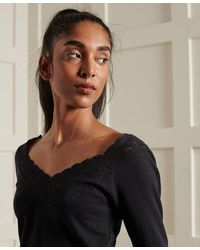 Superdry Lace Pointelle Long Sleeve Top - Black