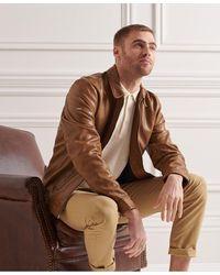 Superdry Veste en cuir Indie Coach - Marron