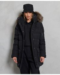 Superdry Premium Down Luxe Long Line Coat - Black