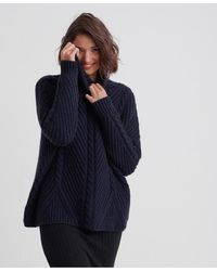 Superdry Tori Cable Cape Knit Sweater - Blue