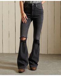 Superdry Skinny Jeans Met Wijde Pijpen En Een Hoge Taille - Grijs