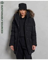 Superdry Abrigo de plumón premium de corte boyfriend - Negro