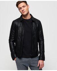 Superdry Curtis Leather Jacket - Black
