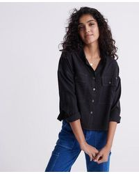 Superdry Camisa oversize Desert - Negro