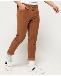 Superdry Slim Tyler Cord Five Pocket Trousers - Brown