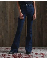 Superdry High Rise Skinny Flare Jeans - Blue