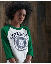 Superdry Camiseta de béisbol Team Varsity - Verde