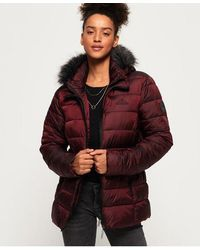 Superdry Taiko Padded Faux Fur Jacket - Purple