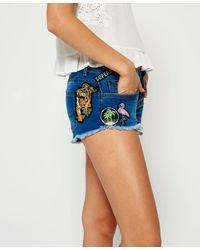 Superdry Denim Hot Shorts Met Patches - Blauw