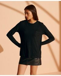 Superdry Organic Cotton Scripted Long Sleeved Crew Top - Black