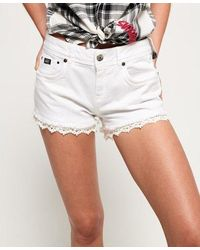 Superdry Lace Trim Denim Hot Shorts - White