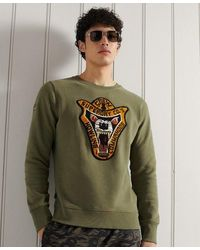 Superdry Limited Edition Chenille Patch Crew Sweatshirt - Green