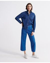 Superdry Wide Leg Crop Jeans - Blue