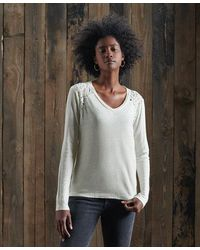 Superdry Nyc Lace Insert Linen Top - Multicolour