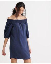 Superdry Desert Off Shoulder Dress - Blue