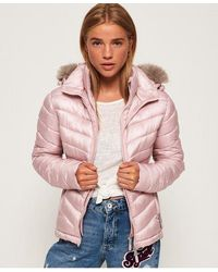 Superdry Hooded Luxe Chevron Fuji Jacket - Pink